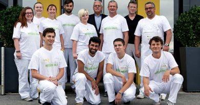 Zufriedene Gesichter in Wien – junge Architekten und Handwerker absolvierten im Rahmen der Green.Building.Solutions. einen gemeinsamen WDVS-Praxisworkshop. Fotos: Sto-Stiftung / Christoph Große