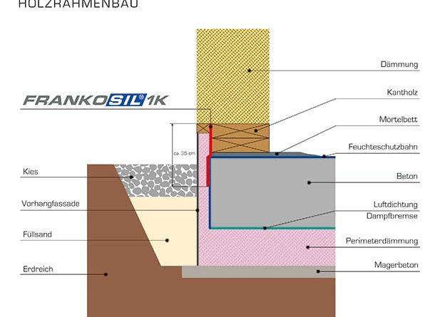 »Frankosil 1K« ist mit seinem Sd-Wert von 1,04 m eine Lösung zur Sockelabdichtung im Holzrahmenbau