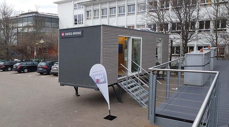 Der SWISS KRONO MAGNUMBOARD OSB-Pavillon vor der raumprobe. Bildnachweis: SWISS KRONO