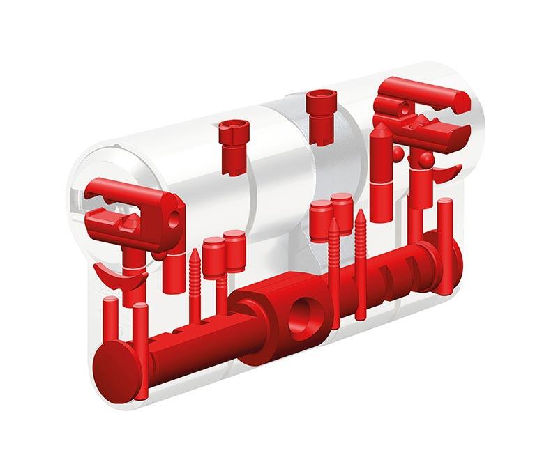 Die Sicherheitselemente im Inneren des Magnetzylinders sorgen serienmäßig für stahlharte Sicherheit und schützen vor Zylindermanipulation.