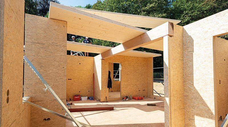 Massivholzbauweise mit SWISS KRONO MAGNUMBOARD OSB. Bildnachweis SWISS KRONO │ Foto: Volker Neumann