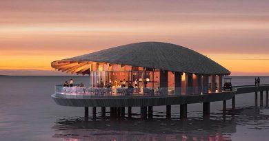 Die Restaurants im Ummahat Al Shaykh Island Resort wurden von Kengo Kuma mit einem muschelförmigen Freiformdach entworfen. Renderings: Kengo Kuma and Associates | The Red Sea Development Company