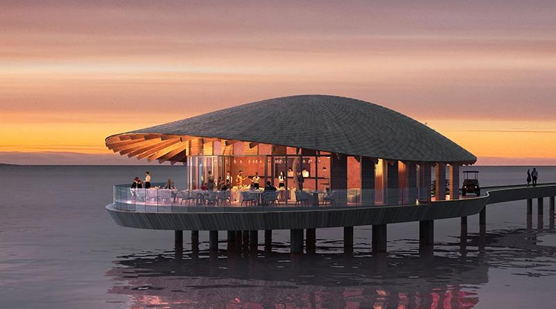 Die Restaurants im Ummahat Al Shaykh Island Resort wurden von Kengo Kuma mit einem muschelförmigen Freiformdach entworfen. Renderings: Kengo Kuma and Associates | The Red Sea Development Company