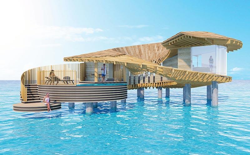 Die spiralförmigen Wasservillen von Kengo Kuma erlauben einen 360°-Blick über das Meer. Renderings: Kengo Kuma and Associates | The Red Sea Development Company