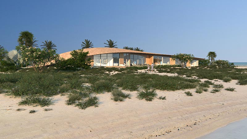 Bei dem Entwurf der Strandhäuser mit ihren fein geschwungenen Freiform-Dächern ließ sich Kengo Kuma von der Natur der Insel inspirieren. Renderings: Kengo Kuma and Associates | The Red Sea Development Company