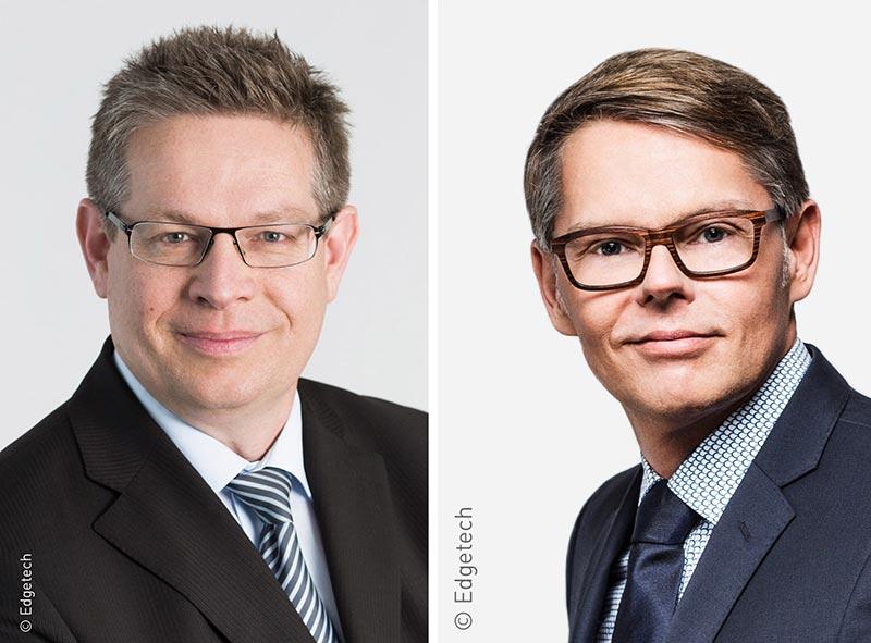 Joachim Stoß, Geschäftsführer der Edgetech Europe GmbH und Vice President International Sales bei Quanex und Johannes von Wenserski, Prokurist der Edgetech Europe GmbH.
