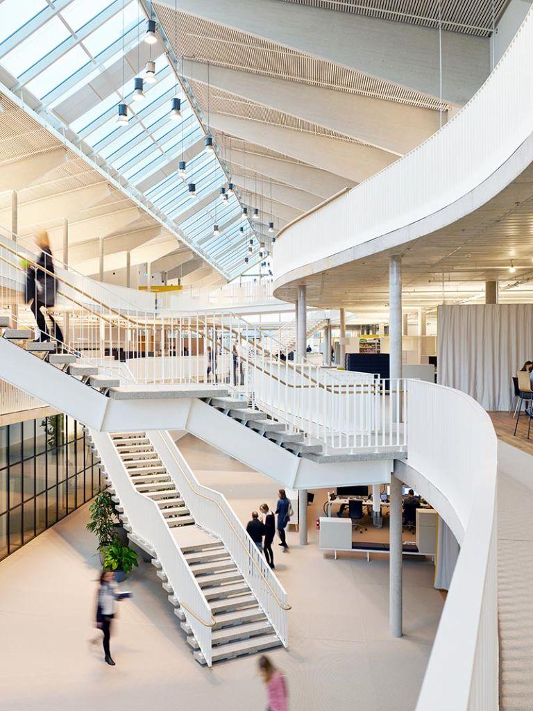 Der Alnatura-Campus in Darmstadt erhielt die DGNB-Zertifizierung in Platin. Der Innenbereich wurde mit KEIM Lignosil-Inco gestaltet. Foto: Roland Halbe, Architekturfotografie