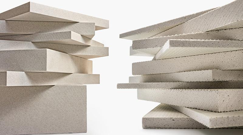 Leichtbauplatten aus Verolith (links) und aus Blähglas (rechts). Foto: Verotec