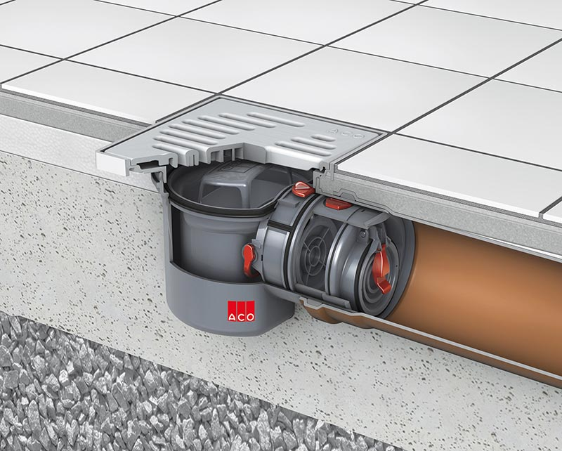 ACO Kellerablauf Junior mit Rückstauverschluss für fäkalienfreies Abwasser – zum Einbau in die Bodenplatte. Bildquelle: ACO Haustechnik
