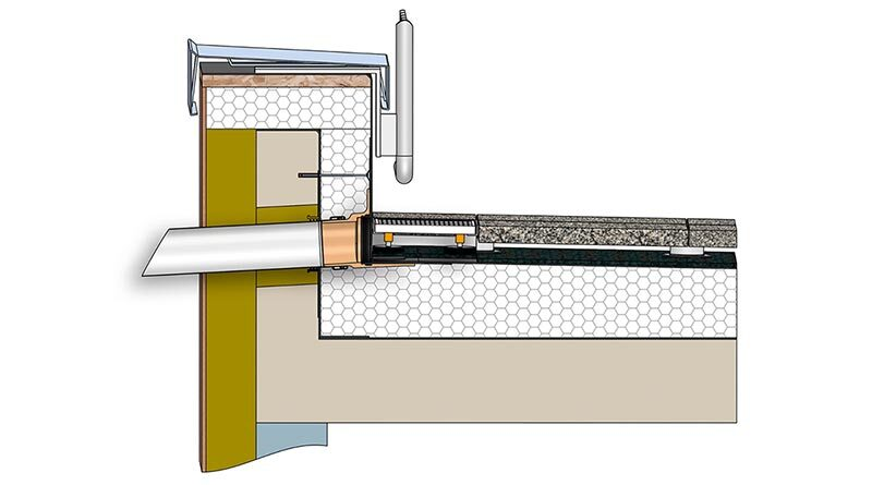 Das neue SitaDrain Terra Drainagemodul hat vier feinjustierbare Gummimetallpufferfüße.